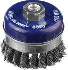 Щетка DEXX усиленная с посадочным М14 для УШМ,бандажное кольцо, жгут. пучки стал провол 0,5мм,d=80мм
