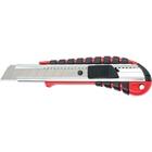 Нож 18 мм, выдвижное лезвие, мет. направляющая, эргоном. двухкомп. рукоятка // MATRIX