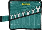 """Набор KRAFTOOL """"EXPERT"""": Ключ гаечный рожковый, Cr-V сталь, хромированный, 8-19мм, 7шт"""