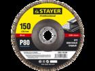 """Круг шлифовальный STAYER """"PROFI"""" лепестковый торцевой, тип КЛТ1, P60, 150х22,2мм"""