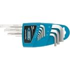 Набор ключей имбусовых HEX, 1,5–10 мм, S2, 9 шт.,  удлиненные  с  шаром, сатинированные// Gross