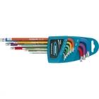 Набор ключей имбусовых HEX, 1,5–10 мм, S2, 9 шт., магнит, экстра-длин. с шаром,  хром/краска// Gross