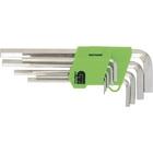 Набор ключей имбусовых HEX, 1,5–10 мм, 45x, закаленные,  9 шт., удлиненные ,  никель.//Сибртех