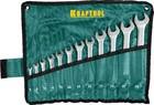"""Набор KRAFTOOL """"EXPERT"""": Ключи гаечные комбинированные, Cr-V сталь, хромированные, 6-27мм, 12шт"""