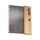Шпатель стальной 85 х 180 мм, квадратный зуб 10 х 10 мм, деревянная ручка // SPARTA